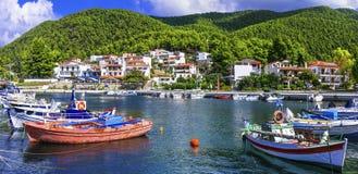 Beautiful green Skopelos island- traditional Neo Klima village. stock photo