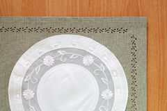 Beautiful Green tablecloth and flower lace Stock Images