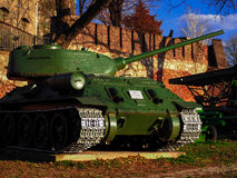 Beautiful green tank in belgrade. Amazing photo of war machine in serbia Royalty Free Stock Images