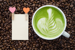 Beautiful green tea and clip note Stock Image