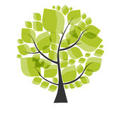 Beautiful Green Tree on a White Background Vector Royalty Free Stock Images