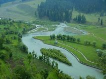 Betab Valley Aerial view. A beautiful green valley in Kashmir with a river view and trees Royalty Free Stock Photos