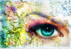 Beautiful green women eye beaming, color rust effect, painting collage, violet makeup. Royalty Free Stock Photo