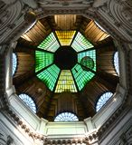 Beautiful green yellow and brown glazed dome at Pasajul Macca-Vilacrosse bucharest romania Royalty Free Stock Image