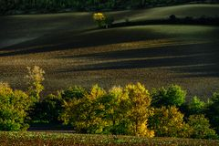 Beautiful green and yellow hills on sunset, french Tuscany Stock Image
