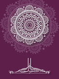 Beautiful greeting card with Arabic text for Eid. Beautiful shiny floral design with Arabic Islamic calligraphy of text Eid Mubarak on purple background, for Royalty Free Stock Photo