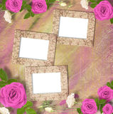 Beautiful greeting card with bouquet of pink roses, ribbons Stock Photography