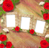 Beautiful greeting card with bouquet of red roses, ribbons Stock Photos