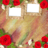 Beautiful greeting card with bouquet of red roses, ribbons Stock Photo