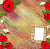 Beautiful greeting card with bouquet of red roses, ribbons Royalty Free Stock Images