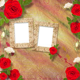 Beautiful greeting card with bouquet of red roses, ribbons Royalty Free Stock Photos