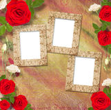 Beautiful greeting card with bouquet of red roses, ribbons Stock Photography