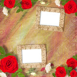 Beautiful greeting card with bouquet of red roses, ribbons Stock Image