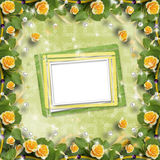 Beautiful greeting card with bouquet of yellow roses, ribbons Stock Image