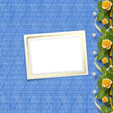 Beautiful greeting card with bouquet of yellow roses Royalty Free Stock Photography
