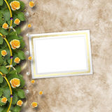 Beautiful greeting card with bouquet of yellow roses Stock Photos