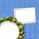 Beautiful greeting card with a bouquet of yellow roses Stock Images