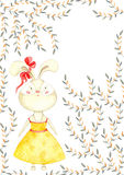 Beautiful greeting card with cute rabbit girl in dress and bow on her ear and autumn leaves. Royalty Free Stock Photography