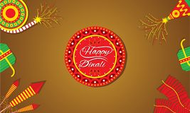 Creative happy diwali festival greeting design. A beautiful greeting card with decorated cracker diwali festival celebration design Royalty Free Stock Photography