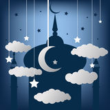 Beautiful greeting card design with hanging moons and stars on s Stock Photography