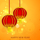 Beautiful greeting card design for Happy New Year celebrations. Stock Images