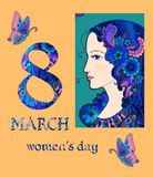 Beautiful greeting card design for International woman's day. Doodle drawing of beautiful woman and butterflies. Vector illustration Royalty Free Stock Photo