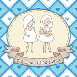 Beautiful greeting card design with two women for Happy Mother's Stock Photos