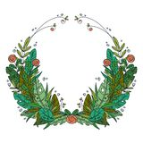 Beautiful greeting card with floral cartoon wreath. stock illustration