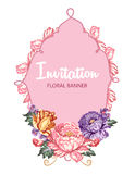Beautiful greeting card with floral composition and pink banner Royalty Free Stock Images