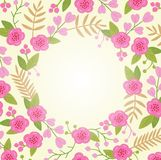 Beautiful greeting card with floral wreath. Stock Photography