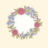 Beautiful greeting card of floral wreath. Hand-drawn background for greeting cards and invitations of the wedding, birthday, mothe Stock Photos