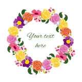 Beautiful greeting card with floral wreath. Royalty Free Stock Photo