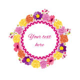 Beautiful greeting card with floral wreath. Stock Image