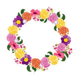 Beautiful greeting card with floral wreath. Stock Images