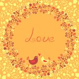 Beautiful greeting card with flowers and birds. Vector illustration Stock Photos