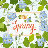 Beautiful greeting card with a frame of spring blue flowers and lettering. Vector illustration Stock Image