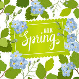 Beautiful greeting card with a frame of spring blue flowers and lettering. Vector illustration Royalty Free Stock Image
