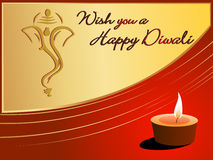 Beautiful greeting card for happy deepawali. Wish you a happy diwali greeting card with diya, ganpati for happy deepawali vector illustration