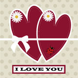 Beautiful greeting card happy Valentine`s day.the inscription I Royalty Free Stock Image