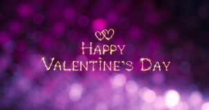 Beautiful greeting card Happy Valentine`s Day. Sparkling golden text wishes on purple lilac festive background. Wide screen Holiday Web banner royalty free stock photography