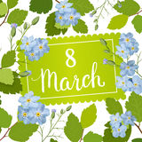 Beautiful greeting card with the holiday of March 8, International Women`s Day with spring blue flowers and lettering. Beautiful greeting card with the holiday Stock Photos