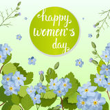 Beautiful greeting card with the holiday of March 8, International Women`s Day with spring flowers and lettering. Beautiful greeting card with the holiday of Royalty Free Stock Photo