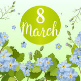 Beautiful greeting card with the holiday of March 8, International Women`s Day with spring flowers and lettering. Beautiful greeting card with the holiday of Stock Photo