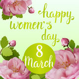 Beautiful greeting card with the holiday of March 8, International Women`s Day with spring roses and lettering. Beautiful greeting card with the holiday of Stock Image