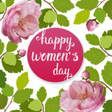 Beautiful greeting card with the holiday of March 8, International Women`s Day with spring roses and lettering. Beautiful greeting card with the holiday of Stock Photos