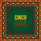 Beautiful greeting card, invitation for Cinco de Mayo festival. Design concept for Mexican fiesta holiday with ornate border frame. Vector illustration Stock Image