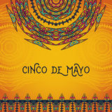 Beautiful greeting card, invitation for Cinco de Mayo festival. Design concept for Mexican fiesta holiday. With ornate mandala and border frame ornament. Hand Royalty Free Stock Images