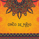 Beautiful greeting card, invitation for Cinco de Mayo festival. Design concept for Mexican fiesta holiday with ornate mandala and border frame ornament. Hand