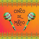 Beautiful greeting card, invitation for fiesta festival. Design concept for Mexican Cinco de Mayo holiday with maracas and ornate border. Colorful hand drawn Stock Photography