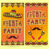 Beautiful greeting card, invitation for fiesta festival. Design concept for Mexican Cinco de Mayo holiday with maracas, sombrero, mustache and ornate border vector illustration